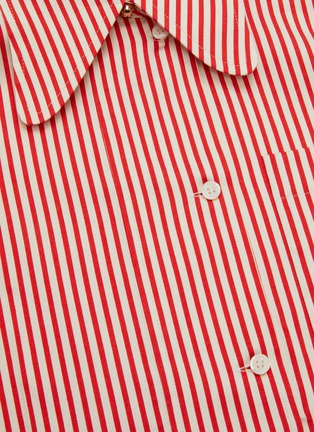 - VICTORIA BECKHAM - Stripe Half Placket Cotton Silk Blend Shirt
