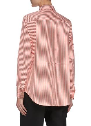 Back View - Click To Enlarge - VICTORIA BECKHAM - Stripe Half Placket Cotton Silk Blend Shirt