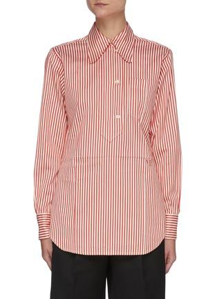 Main View - Click To Enlarge - VICTORIA BECKHAM - Stripe Half Placket Cotton Silk Blend Shirt