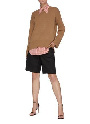 Figure View - Click To Enlarge - VICTORIA BECKHAM - Stripe Half Placket Cotton Silk Blend Shirt