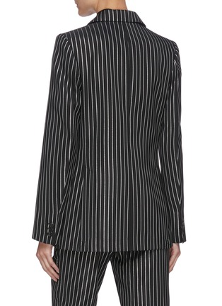 Back View - Click To Enlarge - VICTORIA BECKHAM - PINSTRIPE PRINT DOUBLE BREASTED VIRGIN WOOL BLEND BLAZER