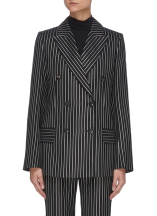 Main View - Click To Enlarge - VICTORIA BECKHAM - PINSTRIPE PRINT DOUBLE BREASTED VIRGIN WOOL BLEND BLAZER