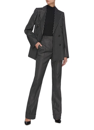 Figure View - Click To Enlarge - VICTORIA BECKHAM - PINSTRIPE PRINT DOUBLE BREASTED VIRGIN WOOL BLEND BLAZER
