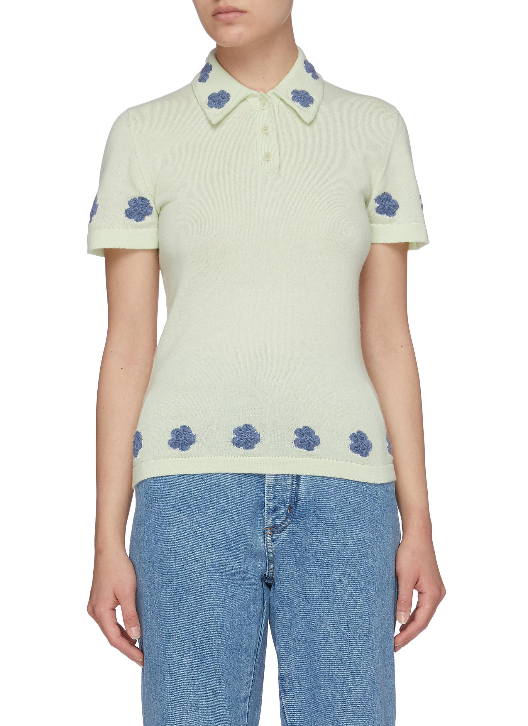 Barrie EMBROIDERED FLOWER CASHMERE BLEND POLO SHIRT