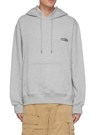Main View - Click To Enlarge - WOOYOUNGMI - Back Logo Print Cotton Drawstring Hoodie