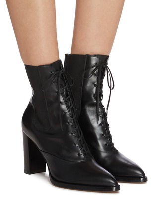 Figure View - Click To Enlarge - GIANVITO ROSSI - Laceup leather boots