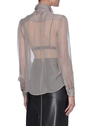 Back View - Click To Enlarge - SAINT LAURENT - Lavallière Necktie Silk Sheer Blouse