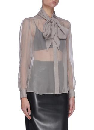 Front View - Click To Enlarge - SAINT LAURENT - Lavallière Necktie Silk Sheer Blouse