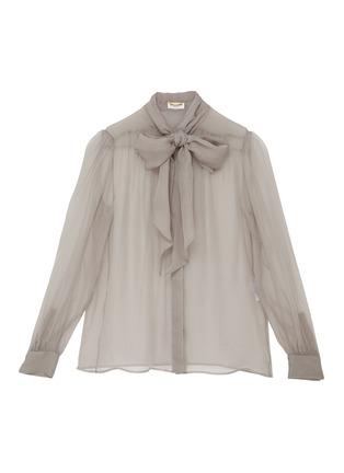Main View - Click To Enlarge - SAINT LAURENT - Lavallière Necktie Silk Sheer Blouse