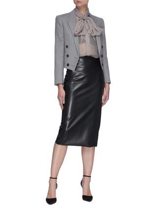 Figure View - Click To Enlarge - SAINT LAURENT - Lavallière Necktie Silk Sheer Blouse