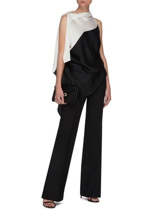 Figure View - Click To Enlarge - ROLAND MOURET - 'Tavistock' Drape Detail Sleeveless Colourblock Top