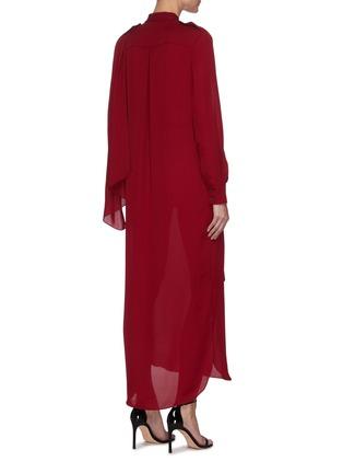 Back View - Click To Enlarge - ROLAND MOURET - Northcott' Drape Front Belted Georgette Midi Dress