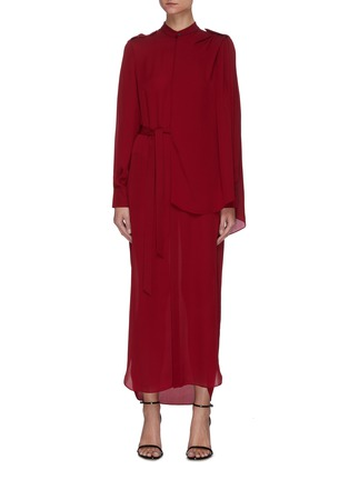Main View - Click To Enlarge - ROLAND MOURET - Northcott' Drape Front Belted Georgette Midi Dress