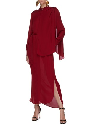 Figure View - Click To Enlarge - ROLAND MOURET - Northcott' Drape Front Belted Georgette Midi Dress