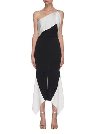 Main View - Click To Enlarge - ROLAND MOURET - Harlow' hammered silk one-shoulder dress