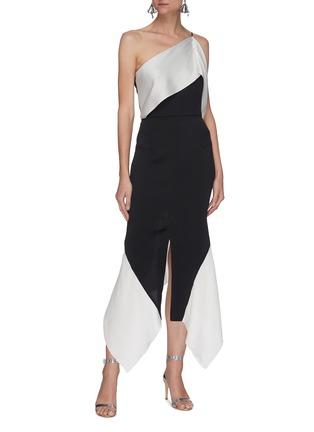 Figure View - Click To Enlarge - ROLAND MOURET - Harlow' hammered silk one-shoulder dress