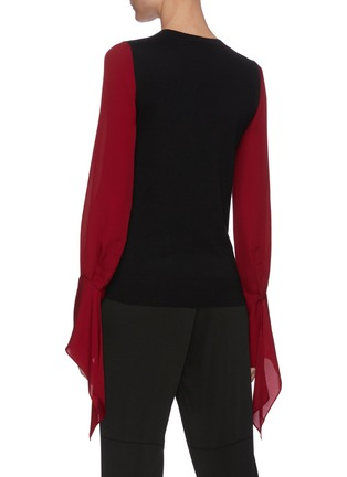 Back View - Click To Enlarge - ROLAND MOURET - Moston' Contrast Panel Billow Sleeve Blouse