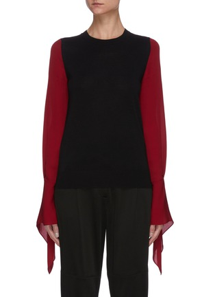 Main View - Click To Enlarge - ROLAND MOURET - Moston' Contrast Panel Billow Sleeve Blouse