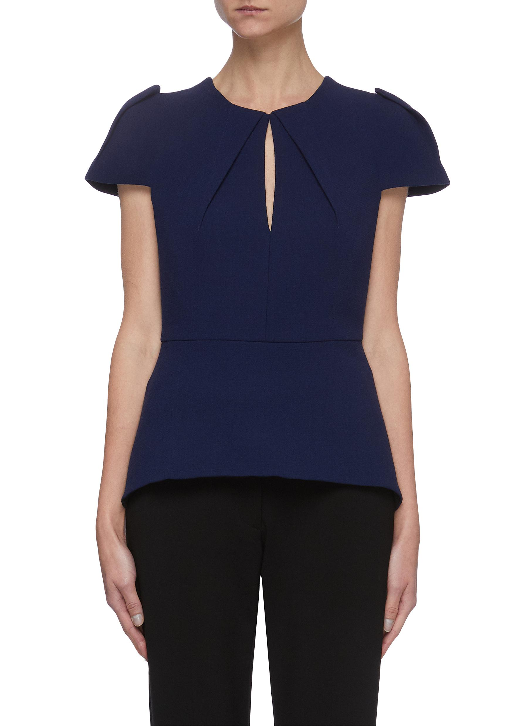 Roland Mouret 'WERN' FRONT SLIT FOLDED SLEEVE PANEL WOOL TOP