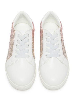 Figure View - Click To Enlarge - WINK - 'MILKSHAKE' kids Elastic Lace Glitter Sneakers