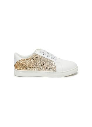 Main View - Click To Enlarge - WINK - 'MILKSHAKE' kids Elastic Lace Glitter Sneakers