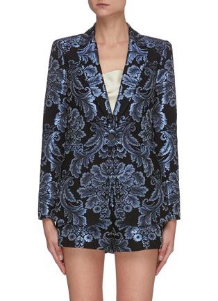 Main View - Click To Enlarge - ALICE + OLIVIA - BRISTOL' Metallic Floral Jacquard Single Button Blazer
