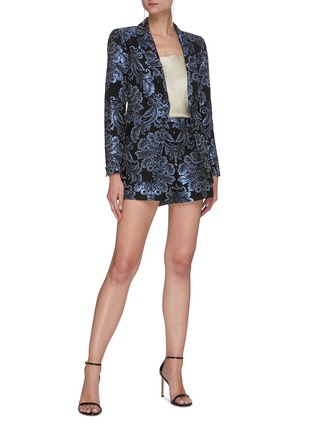 Figure View - Click To Enlarge - ALICE + OLIVIA - BRISTOL' Metallic Floral Jacquard Single Button Blazer