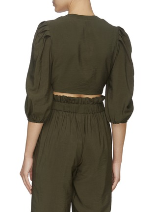 Back View - Click To Enlarge - JONATHAN SIMKHAI - ADRIA' Tie Front Crop Top