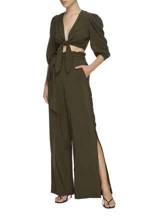Figure View - Click To Enlarge - JONATHAN SIMKHAI - ADRIA' Tie Front Crop Top
