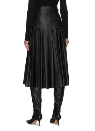 Back View - Click To Enlarge - EQUIL - Belted Pleat Midi Faux Leather Skirt