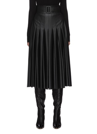 Main View - Click To Enlarge - EQUIL - Belted Pleat Midi Faux Leather Skirt