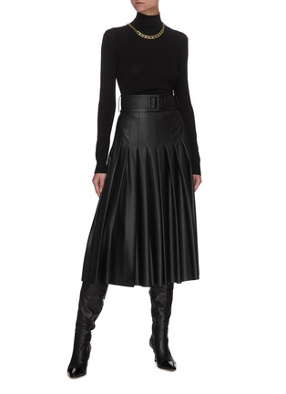 Figure View - Click To Enlarge - EQUIL - Belted Pleat Midi Faux Leather Skirt