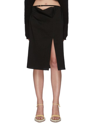 Main View - Click To Enlarge - JACQUEMUS - 'La Jupe Drap' foldover waistband side slit skirt