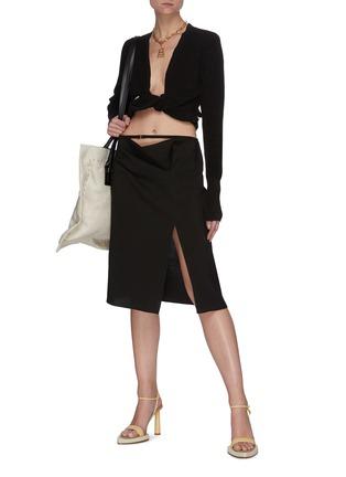 Figure View - Click To Enlarge - JACQUEMUS - 'La Jupe Drap' foldover waistband side slit skirt
