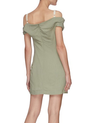 Back View - Click To Enlarge - JACQUEMUS - La Robe Foglio' off-shoulder mini dress