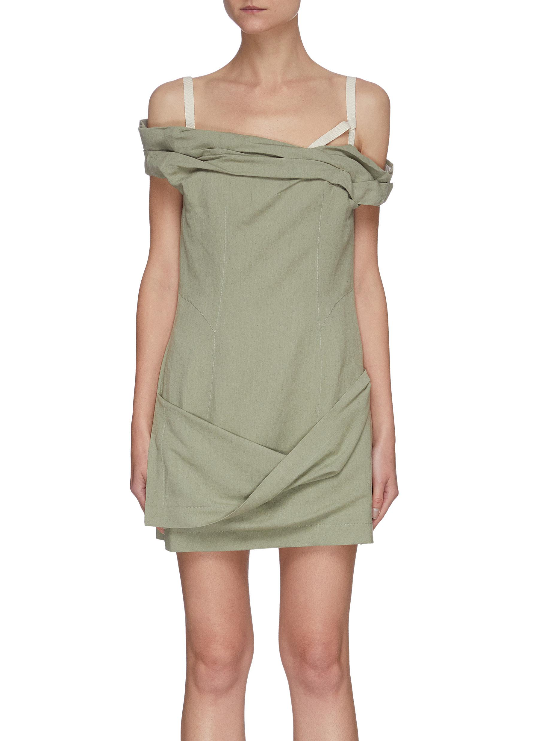 Jacquemus 'LA ROBE FOGLIO' OFF-SHOULDER MINI DRESS