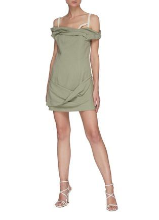 Figure View - Click To Enlarge - JACQUEMUS - La Robe Foglio' off-shoulder mini dress