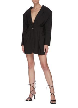 Figure View - Click To Enlarge - JACQUEMUS - La Veste Camargue' pleated suit jacket