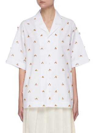 Main View - Click To Enlarge - JACQUEMUS - 'La chemise Jean' Embroidered Bead Appliqué Cotton Shirt