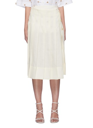 Main View - Click To Enlarge - JACQUEMUS - 'La jupe plissée' Side Placket Pleated Linen Skirt
