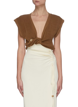 Main View - Click To Enlarge - JACQUEMUS - 'Le Haut Noue' front tie sleeveless knit top