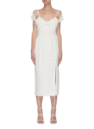 Main View - Click To Enlarge - JACQUEMUS - La Robe Tovallo' cutout embroidery double strap dress