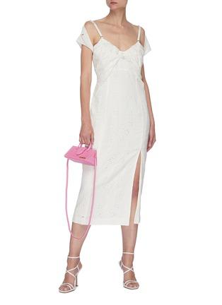 Figure View - Click To Enlarge - JACQUEMUS - La Robe Tovallo' cutout embroidery double strap dress