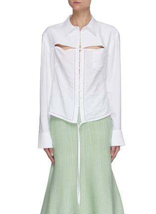 Main View - Click To Enlarge - JACQUEMUS - La Chemise Nappe' cut-out shirt