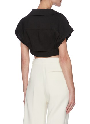 Back View - Click To Enlarge - JACQUEMUS - Le Haut Santon' cropped bowling collar top