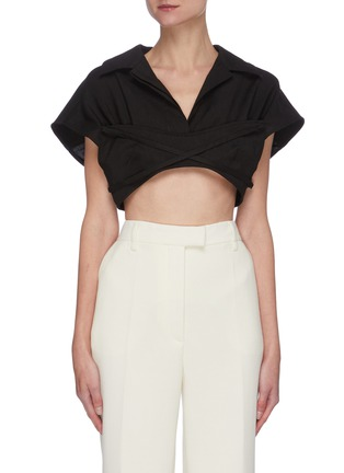 Main View - Click To Enlarge - JACQUEMUS - Le Haut Santon' cropped bowling collar top
