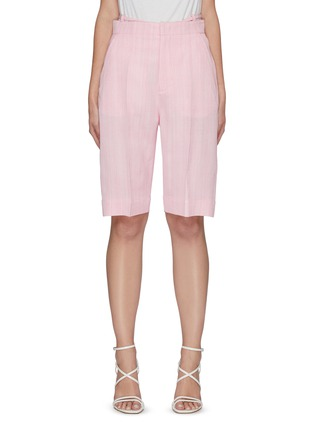 Main View - Click To Enlarge - JACQUEMUS - 'Le short Gardian' Belted Centre Pleat Bermuda Shorts