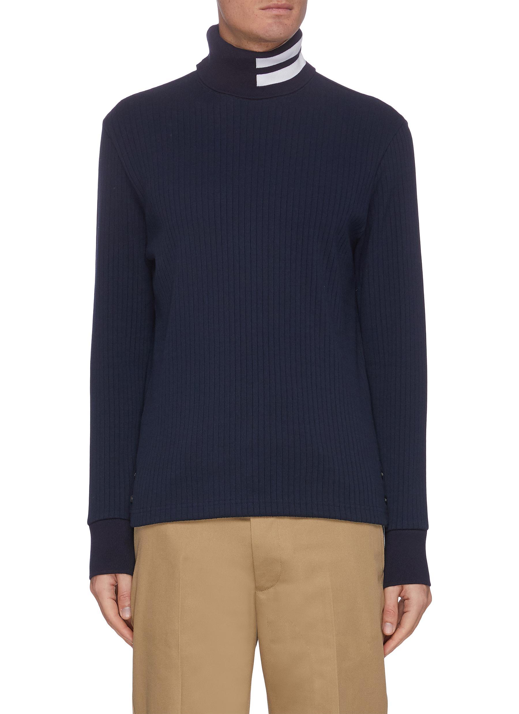 Thom Browne Sweaters STRIPE TURTLENECK RIB KNIT SWEATER