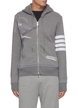 Main View - Click To Enlarge - THOM BROWNE - Embroidered surfer motif stripe sleeve hoodie
