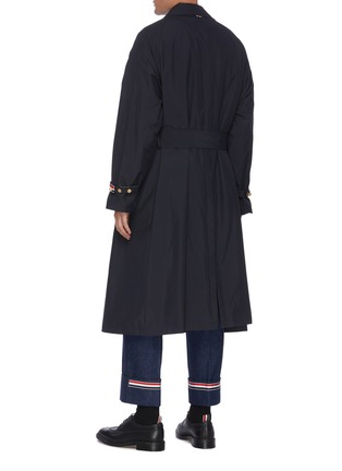 Back View - Click To Enlarge - THOM BROWNE - Four bar stripe collar belted trench coat